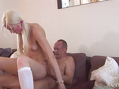 skinny blondeLexi Lou spreads her arms for her friend's strong boner