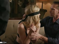 Blind folded blonde in sexy lingerie Mona Wales is fucked by four horny dudes