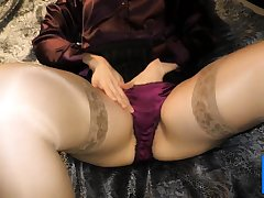 Sample satin blouse and satin panty play exploit