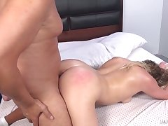 Wild ordinary looking slut with heavy swag Mickey Tyler rides chubby cock