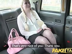 Chubby ash-blonde stunner with braids is having nasty hookup with a cab driver, in his car