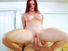 Giant breasted redhead Catherine Desade rides hubby in burnish apply kitchen