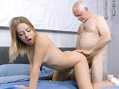 Age-old haired plump ugly man fucks lusty Daniella Margot missionary style
