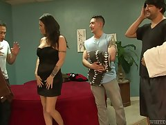 Slut Kianna Bradley serves three hot tempered dudes handy evenly proportioned time