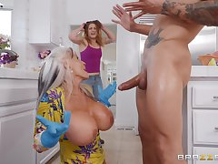 Busty mature granny Exhortation D'angelo plays with cum on the top of her huge tits